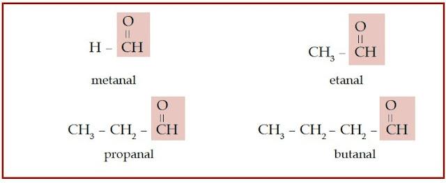 Senyawa aldehid memiliki gugus karbonil yang terletak di ujung rantai karbon.
