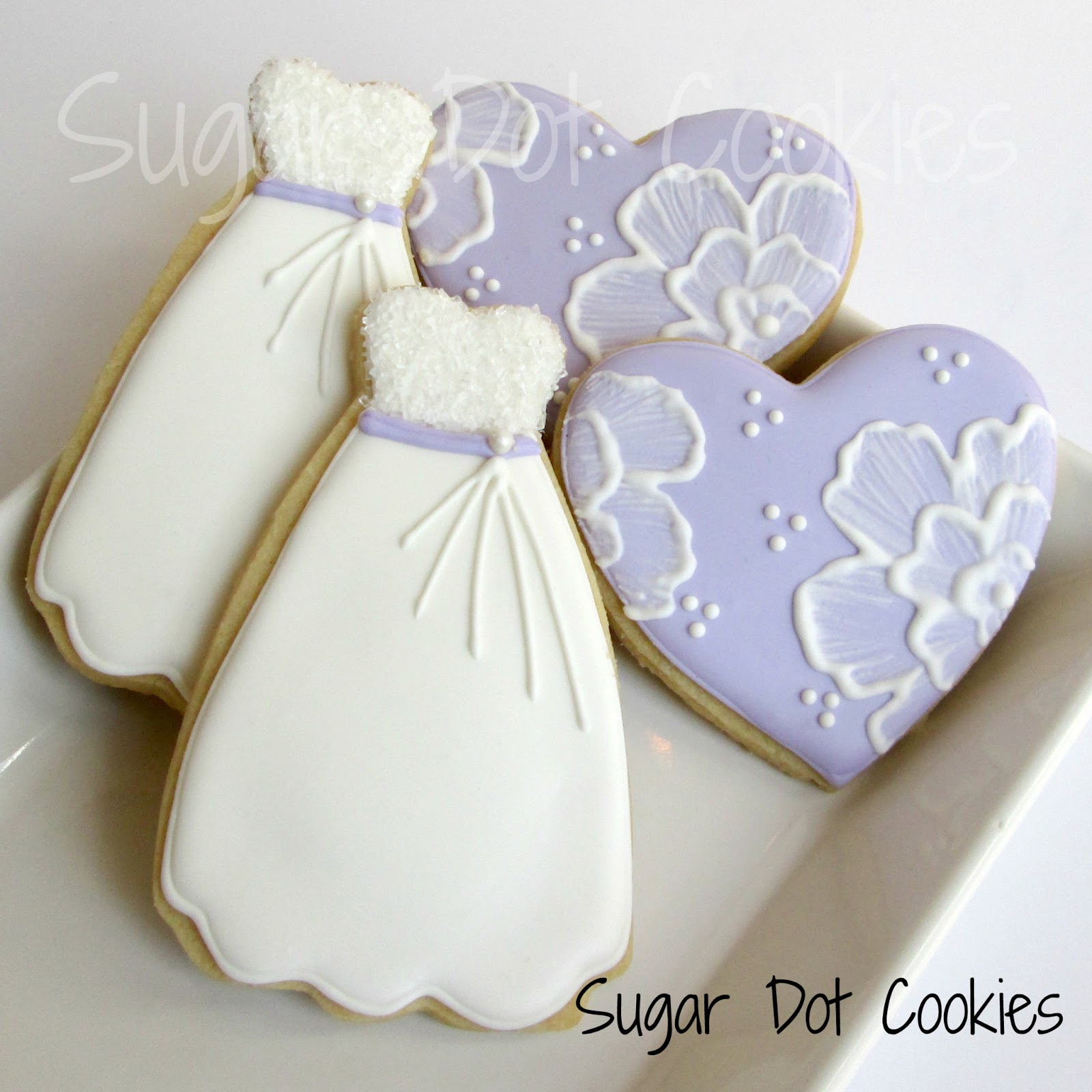 Bridal shower cookies hearts and gowns for Wedding dress cookie cutters