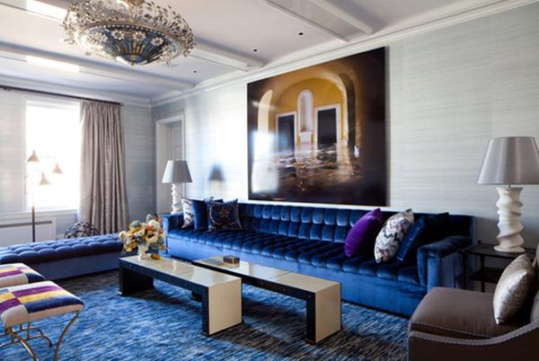 The Maura Project: Dark Blue Velvet Sofa