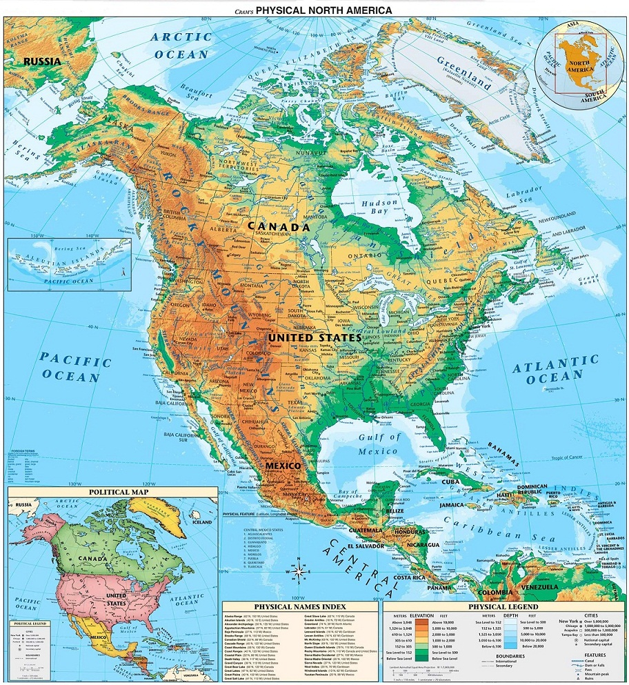 world map north america
