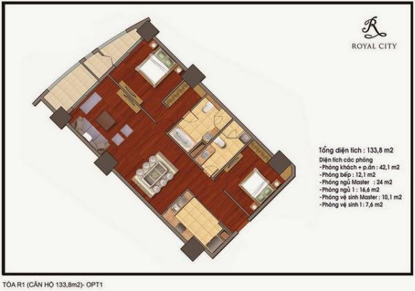 Mặt bằng căn hộ 133.8m2 tòa R1 Royal City Nguyễn Trãi