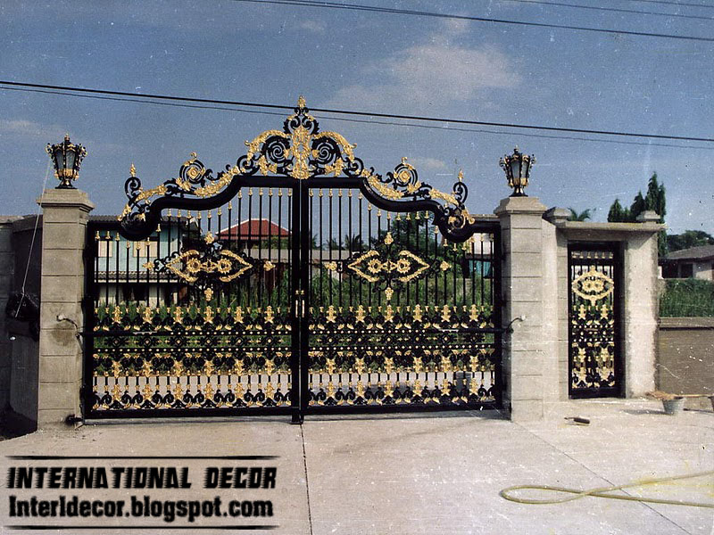 Modern iron gate designs glided black iron gate designs for International decor main gates