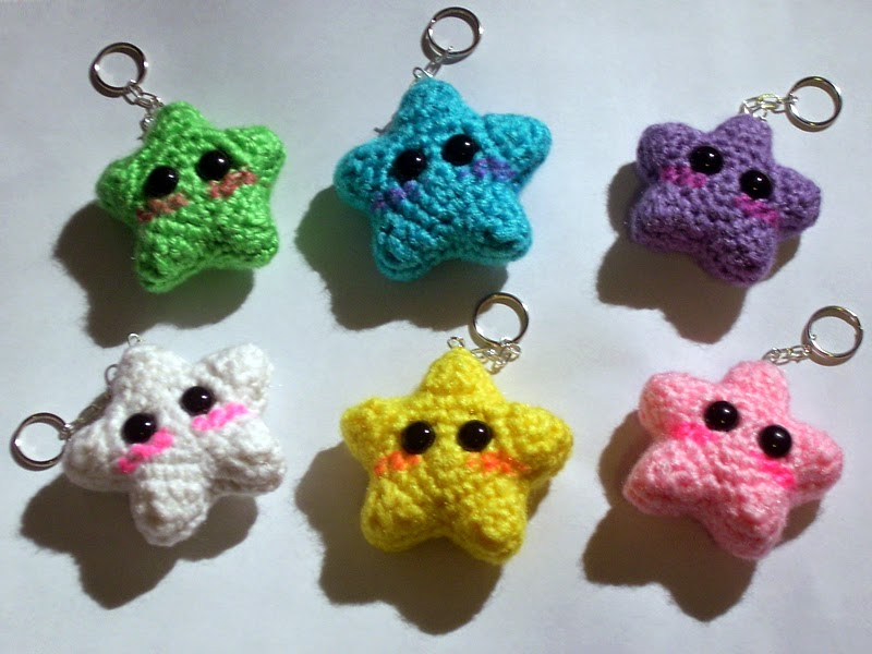 Crochet Keychain : Moonys Mindcraft: Kawaii Star Keychain Pattern