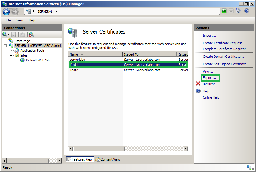 Server Labs How To Create A Self Signed Certificate In Windows