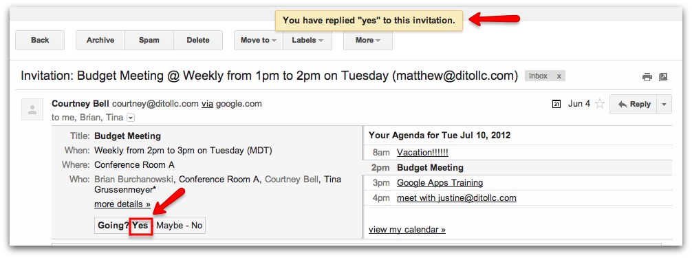 Replying yes no or maybe to google calendar events google yes to the invitation by clicking on the first set of choices available my yes reply was confirmed in the butter bar at the top of the email stopboris Image collections