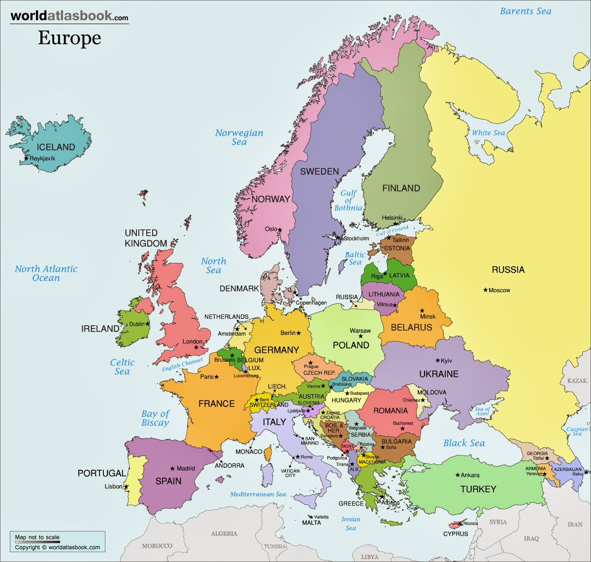 Amazing image pertaining to printable map of europe with countries and capitals