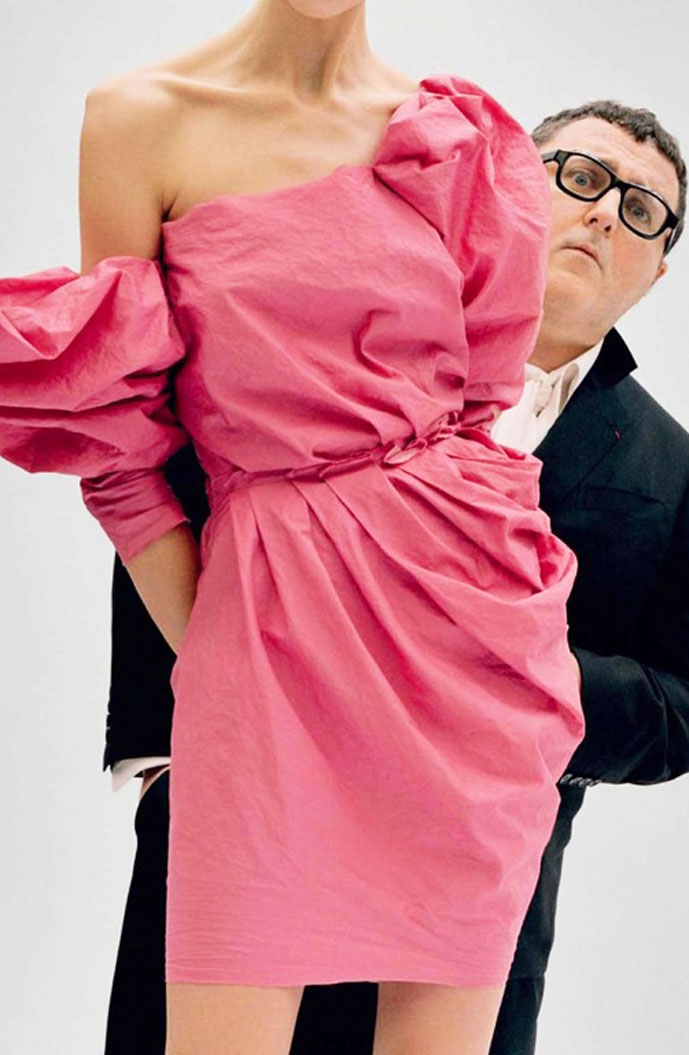 lber Elbaz with one of his designs from Lanvin Spring/Summer 2010 collection photographed by Tim Walker for Vanity Fair January 2010
