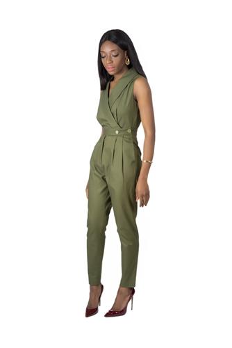 TNL Khaki jumpsuit, utilitarian trend, military trend