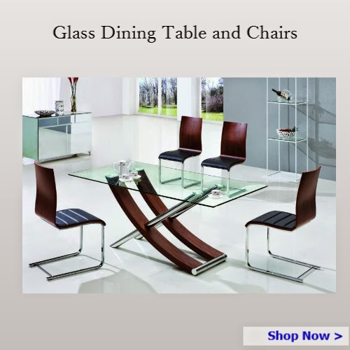 Glass dining table and chairs - Homegenies