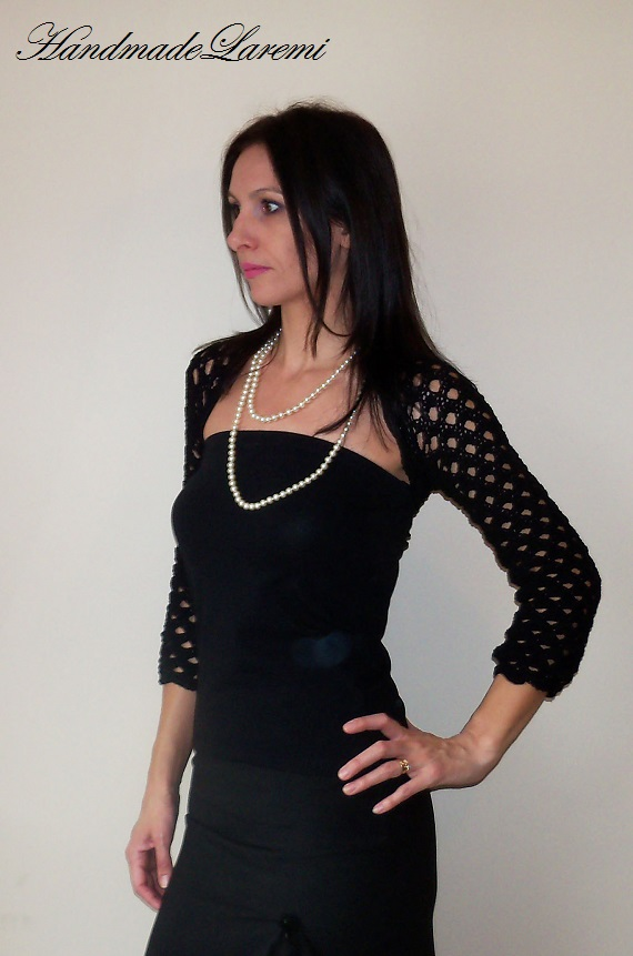 ... : Black WEDDING BOLERO / Crochet lace SHRUG / Elegant bolero jacket