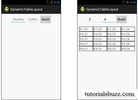 Android Custom TableLayout Dynamically