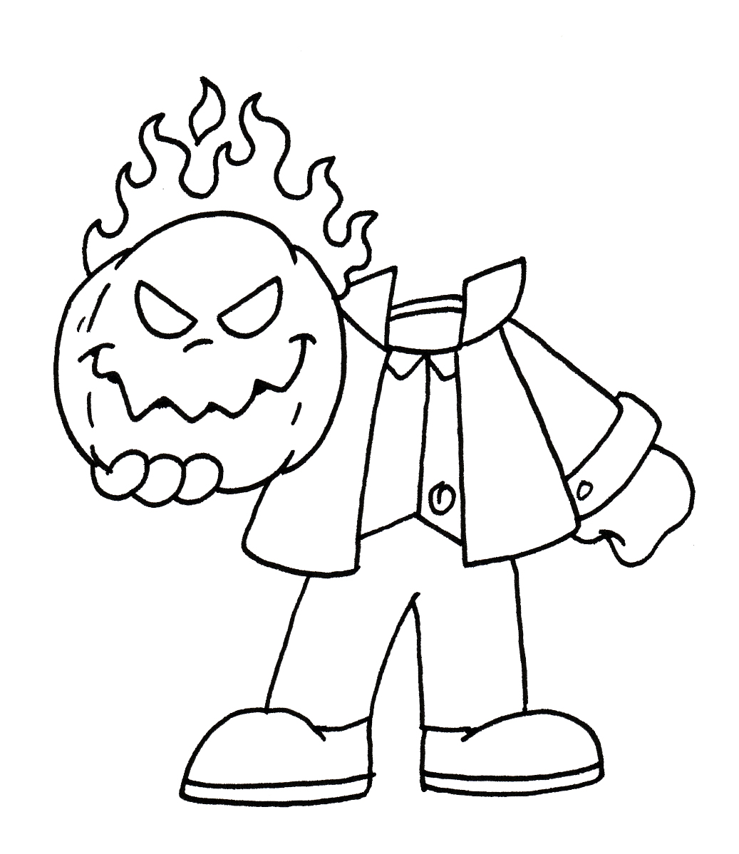 page scary headless horseman coloring page halloween coloring pages
