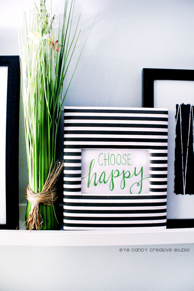 black & white stripe, framed art, choose happy, hand lettering, plant