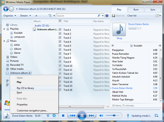 windows Media player conver rip