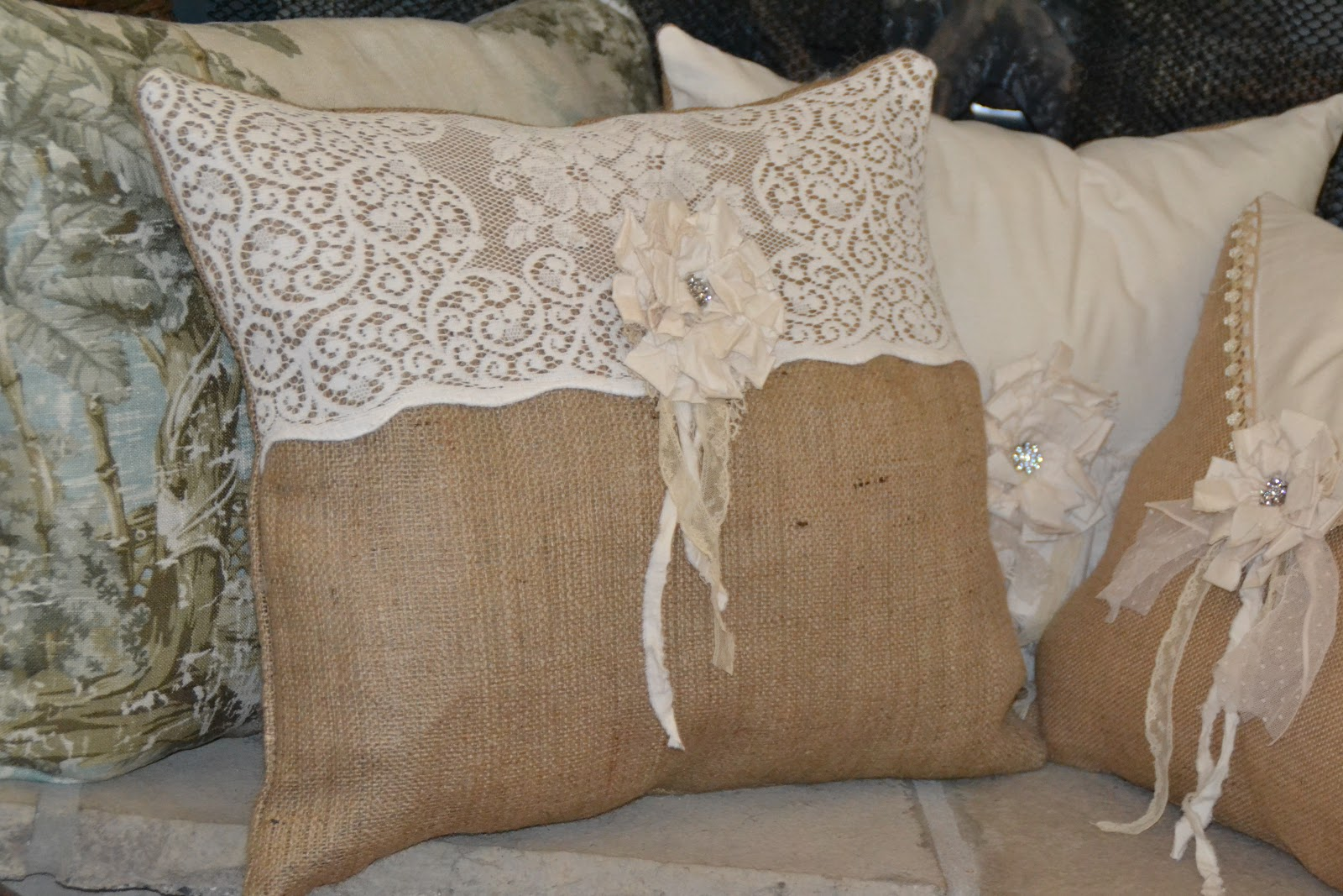 Fancy Lace Tablecloth Pillows