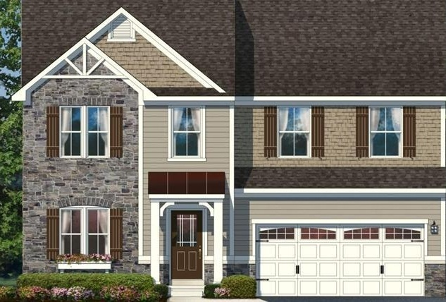 elevation l bucks county stone pebble clay and sandy tan siding dark brown shutters outer space blue door white trim - Clay Siding Pictures Of Houses