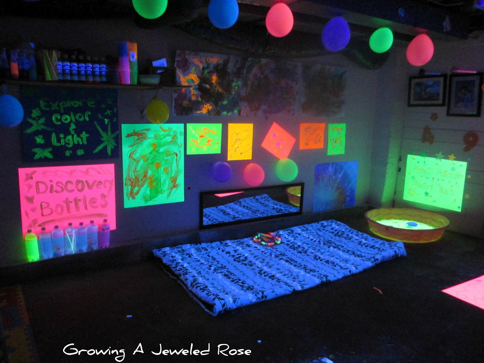 Black Light Themed Party for Kids | Growing A Jeweled Rose for Black Light Bulb Room  193tgx
