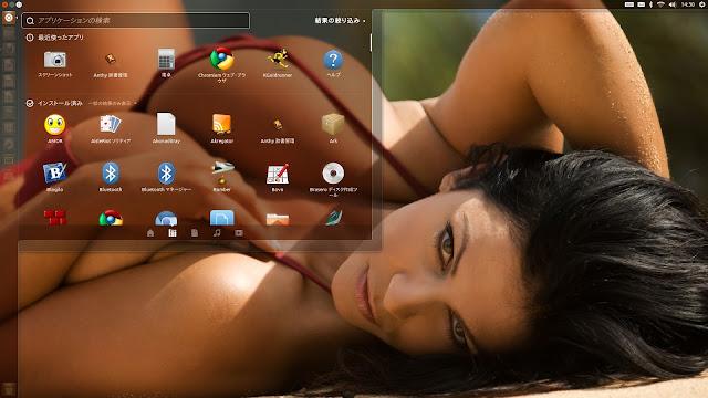Ubuntu 12.04で採用されているUnityのデスクトップの壁紙をビキニの巨乳の女の子に変更しました。