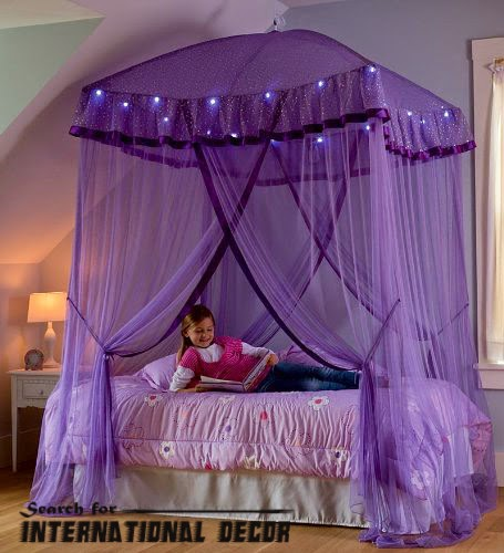 four poster bed canopy, canopy bed, romantic bedroom, purple canopy bed