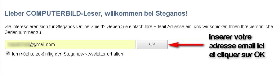 Licence gratuite 1an Steganos Online Shield