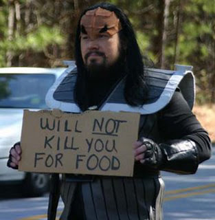 funny homeless sign klingon