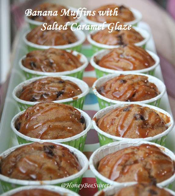 ... Bee Sweets: Banana Chocolate Chip Muffins with Salted Caramel Glaze