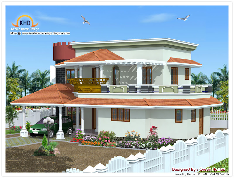 222 Square meter (2390 SqFt.) Kerala Style House Architecture  title=