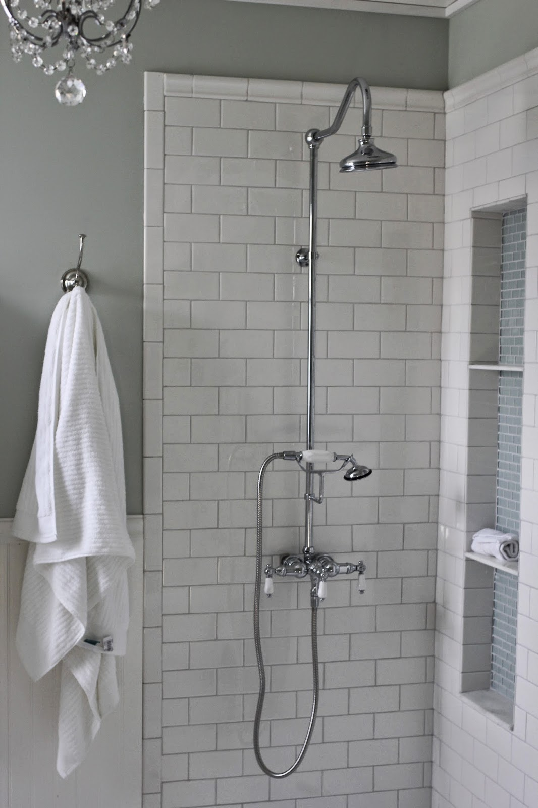 DIY tall shower niche tutorial with exposed shower, mosaic glass and white subway tile-www.goldenboysandme.com