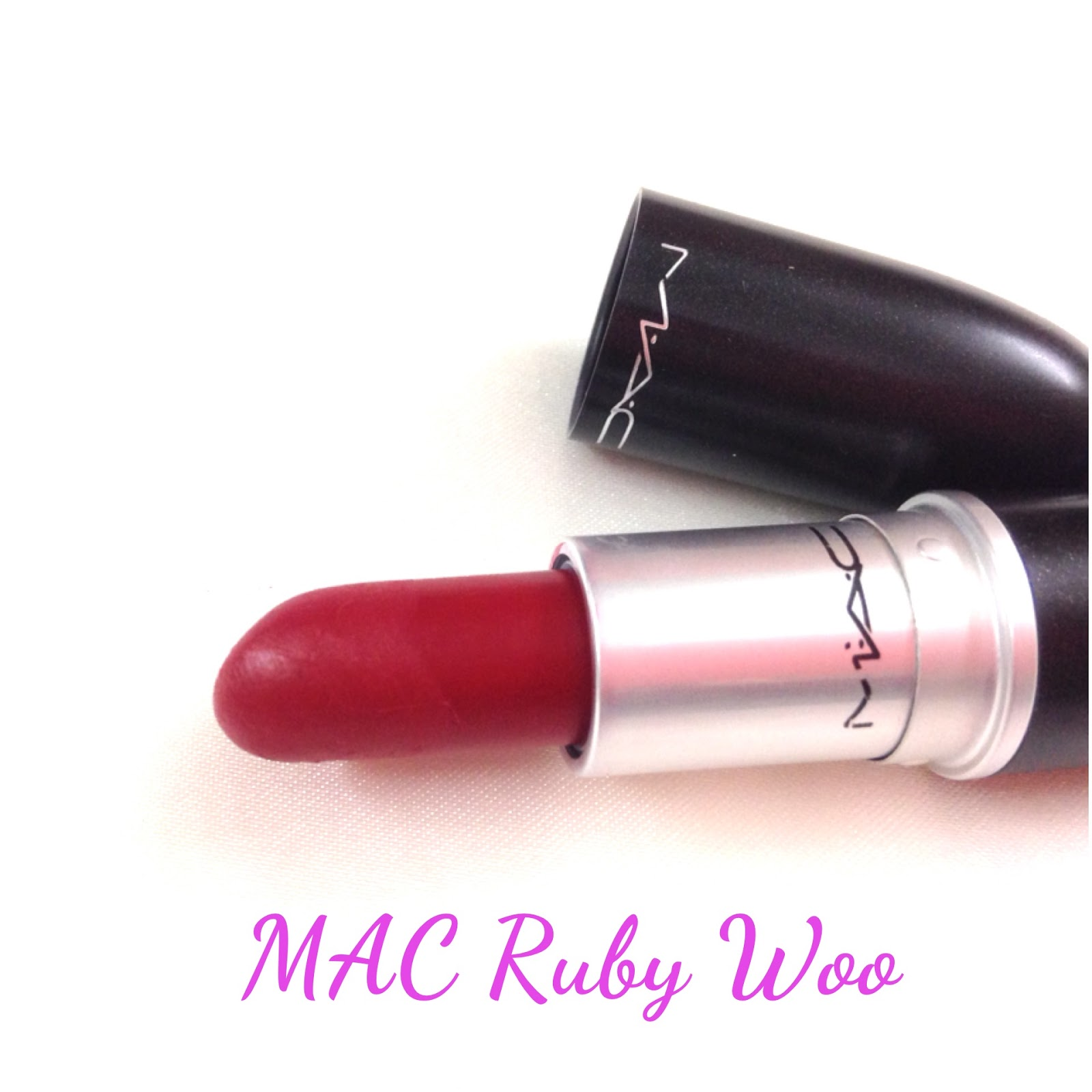 peaches and corals mac retro matte ruby woo lipstick