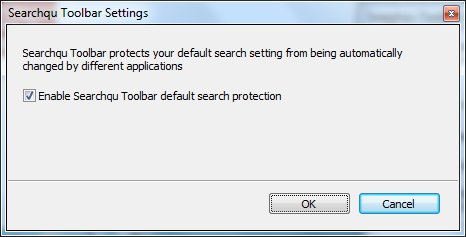 Searchqu Toolbar Settings Window Option to enable searchqu toolbar default search protection