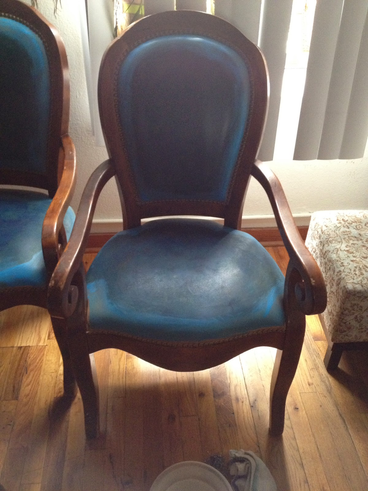 Amazing Once I Got The Chairs, I Decided To Try Sanding Off The Blue Paint And Get  Back To The Original Leather. What I Got Was A Suede Chair That Looks  Better Than ...