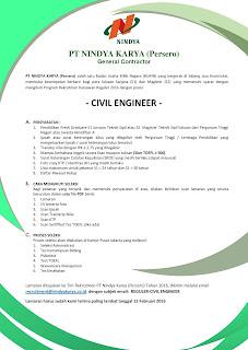 Informasi Lowongan Kerja BUMN Terbaru PT Nindya Karya (Persero) Tahun 2016