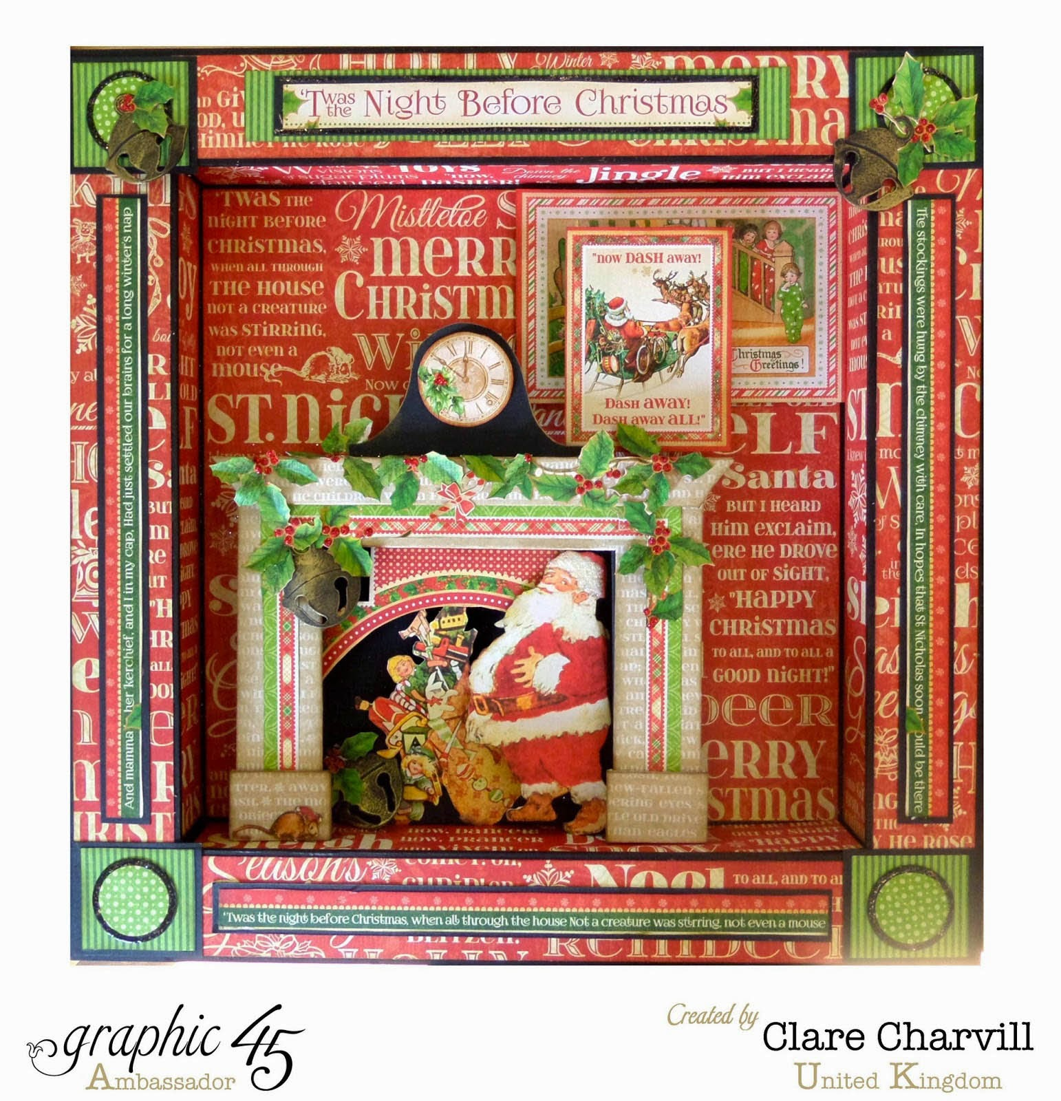 Twas the Night Before Christmas 12 x 12 Shadow Box Clare Charvill Graphic 45 Candy Box Crafts
