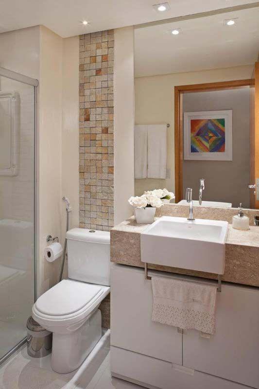 BANHEIROS PEQUENOS MODERNOS 4 ESTILOS + 25 FOTOS  Decor Alternativa -> Banheiros Apto Pequeno