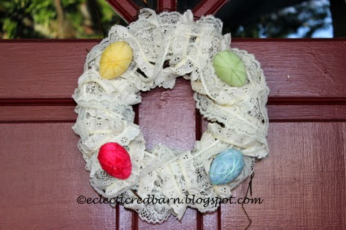 Easter wreath with lace and eggs