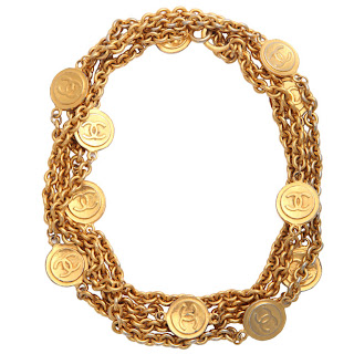 Vintage 1960's gold Chanel chain necklace with coin charms.