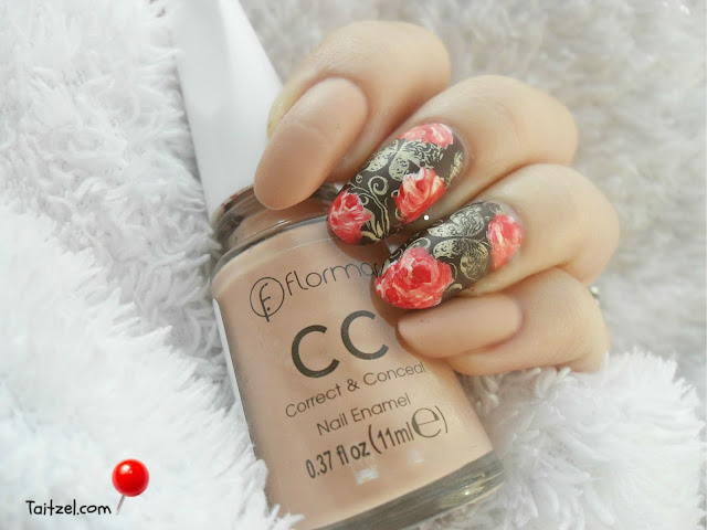one stroke roses stamped butterflyes matte nails