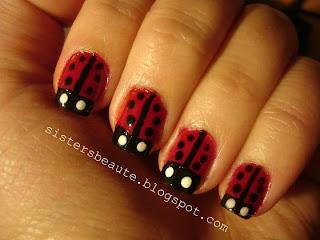 Easy ladybug nails - νυχάκια πασχαλίτσες
