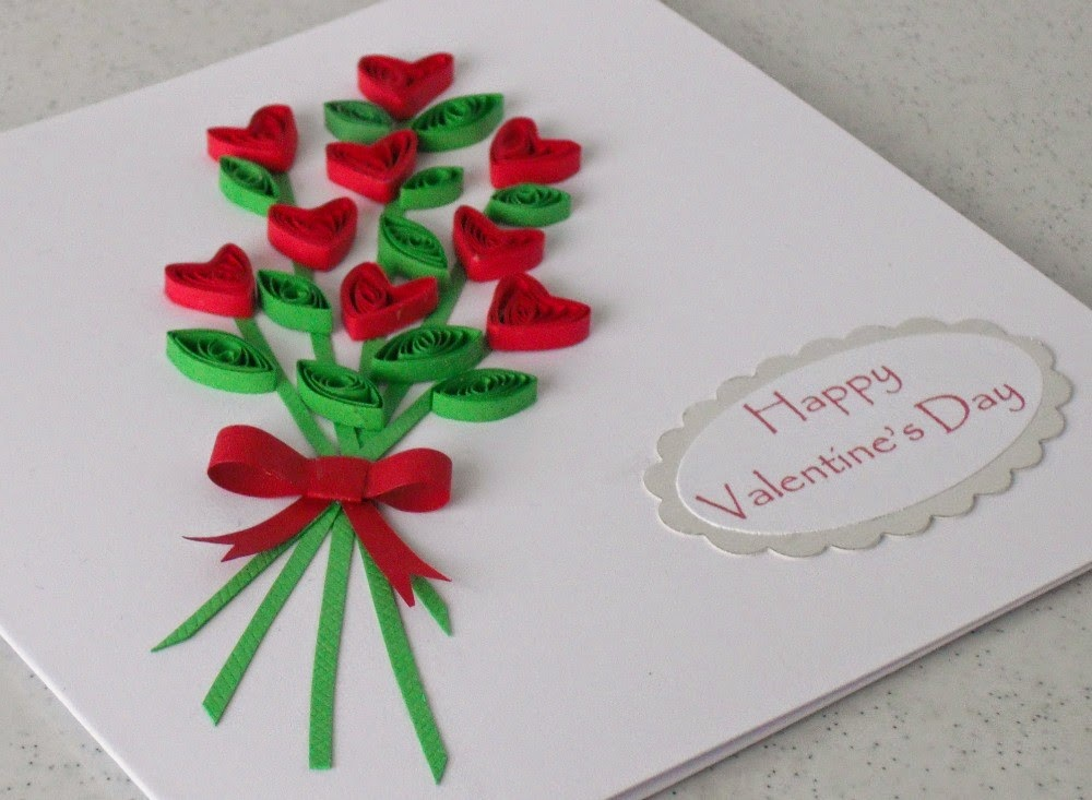 Paper quilling card for valentine 39 s day easy arts and for Paper art projects
