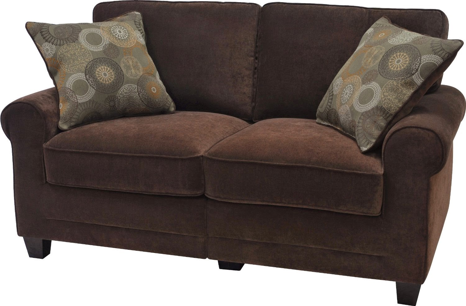 Brown leather couch Loveseats with console