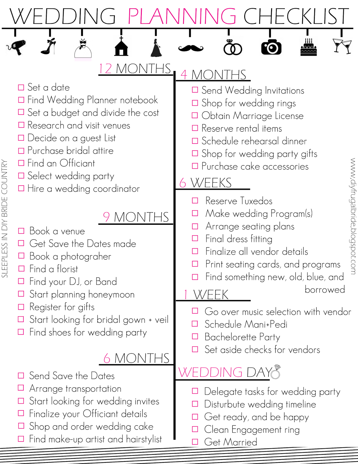Sleepless In Diy Bride Country Budget Wedding Checklist And Tips