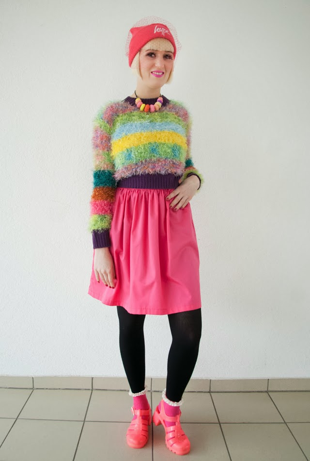unif jumper, fluffy crop jumper, hype beanie, rainbow colored outfit