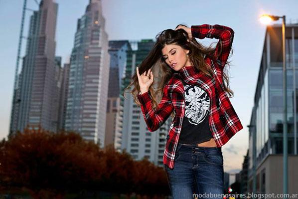 Moda otoño invierno 2014 Argentina - AF Jeans camisas de mujer a cuadros otoño invierno 2014.
