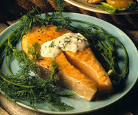 Salmon Steaks with Lemon-Dill Dressing
