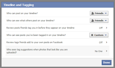 Facebook privacy settings - Timeline and Tagging