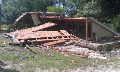 Damaged cottages