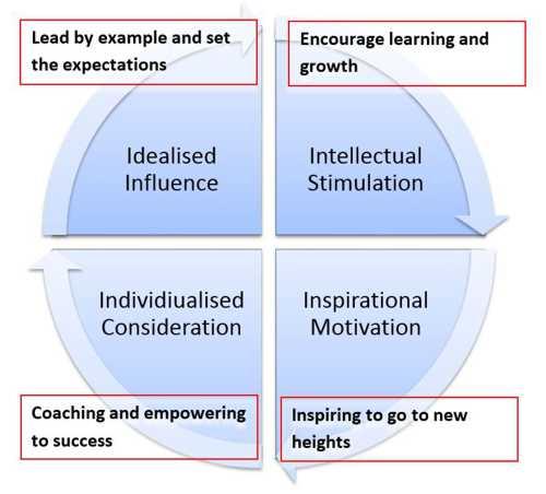4i model for transformational leadership Transformational leadership and  the transformational leader differs from the transactional leader  (1985) model of transforming leadership differs from.
