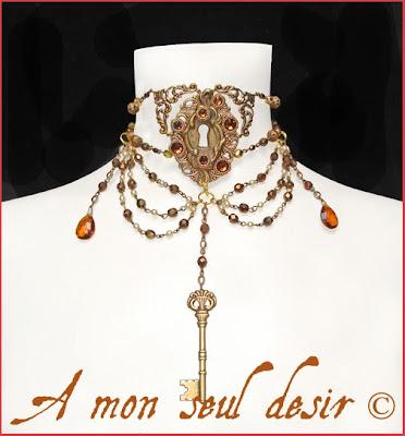 Collier Steampunk Serrure Clef Clé par A Mon Seul Désir www.amonseuldesir.net steampunk key hole necklace