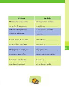 Apoyo Primaria Español 2do grado Bloque 4 lección 2 Mentiras y verdades