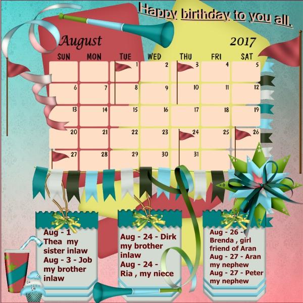 Aug.2017 Nelleke's calendar